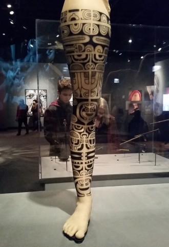 A leg tattoo with Polynesian roots.